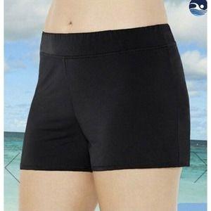 Swimsuit For All 8 Black Band Waist Swim Shorts